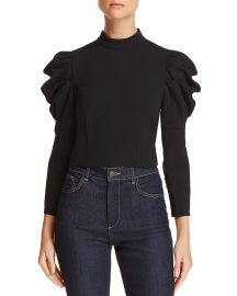 ALICE OLIVIA BRENNA PUFF-SLEEVE CROPPED TOP at Bloomingdales
