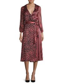 ALICE and OLIVIA - ABIGAIL METALLIC LEOPARD & STRIPE STRETCH SILK WRAP DRESS at Saks Fifth Avenue