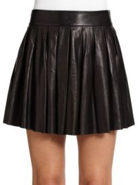 ALICe OLIVIA - PLEATED LEATHER MINI SKIRT at Saks Fifth Avenue