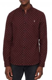 ALLSAINTS Bethel Slim Fit Dot Flannel Shirt at Nordstrom