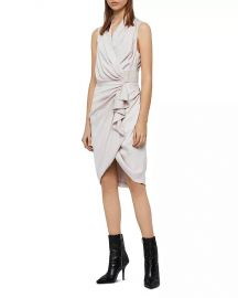 ALLSAINTS Cancity Ruched Wrap Dress Women - Bloomingdale s at Bloomingdales