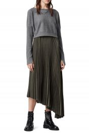 ALLSAINTS Evetta Asymmetrical Midi Dress with Crop Sweater   Nordstrom at Nordstrom