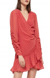 ALLSAINTS Flores Hearts Ruffle Wrap Dress   Nordstrom at Nordstrom