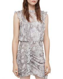 ALLSAINTS Hali Ruched Snake Print Dress Women - Bloomingdale s at Bloomingdales