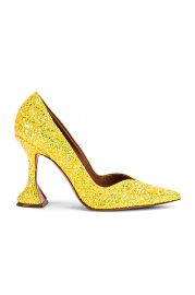 AMINA MUADDI Giorgia Pump in Lemon Glitter   FWRD at Forward