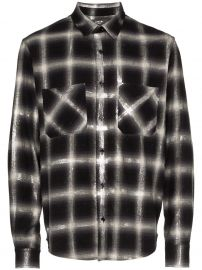 AMIRI GLITTER CHECK COTTON SHIRT - BLACK at Farfetch