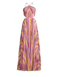AMUR - Janet Striped Halter Gown at Saks Fifth Avenue