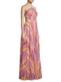 AMUR - Janet Striped Halter Gown at Saks Off 5th