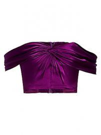 AMUR - Winnie Off-The-Shoulder Silk Crop Top at Saks Fifth Avenue