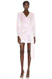 ANDAMANE Carly Sequins Wrap Mini Dress in Hologram   FWRD at Forward