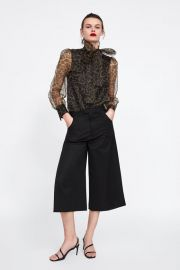 ANIMAL PRINT BLOUSE WITH TIE at Zara