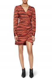 ANINE BING Penelope Long Sleeve Silk Minidress   Nordstrom at Nordstrom