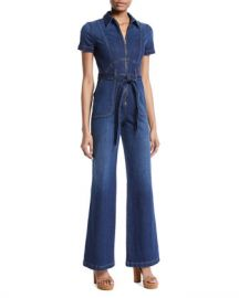 AO LA by Alice Olivia Gorgeous Wide-Leg Fitted Denim Jumpsuit at Neiman Marcus