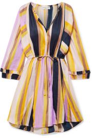 APIECE APART - La Flutte striped linen and silk-blend mini dress at Net A Porter