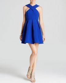 AQAQ Dress - Maverick Sleeveless High Neck Fit and Flare Mini at Bloomingdales