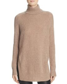 AQUA Cashmere Side-Slit Turtleneck Sweater Wheat at Bloomingdales