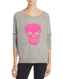 AQUA Cashmere Skull Donegal Sweater x at Bloomingdales