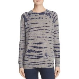 AQUA Cashmere Tie Dye Crewneck Cashmere Sweater grey at Bloomingdales