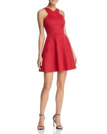 AQUA Faux Suede Fit-and-Flare Dress red at Bloomingdales