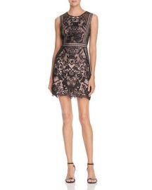 AQUA Fishnet and Lace Dress - 100  Exclusive black at Bloomingdales