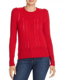 AQUA Mixed-Knit Cashmere Sweater red at Bloomingdales