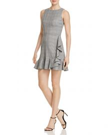 AQUA Ruffled Plaid Sheath Dress x at Bloomingdales