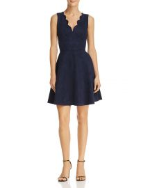 AQUA Scalloped Faux Suede Dress navy at Bloomingdales
