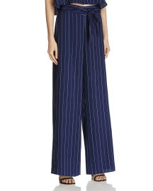 AQUA Striped Split Wide Leg Pants at Bloomingdales