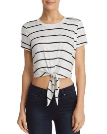 AQUA Tie-Front Cropped Striped Tee at Bloomingdales