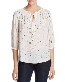 AQUA Arrow Print Tie-Neck Top at Bloomingdales