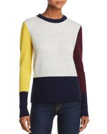 AQUA CASHMERE COLOR-BLOCK CASHMERE CREWNECK SWEATER at Bloomingdales