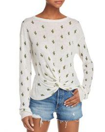 AQUA Cactus Print Twist-Front Sweater - 100  Exclusive  Women - Bloomingdale s at Bloomingdales