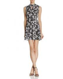AQUA Cutout Mock Neck Floral Dress - 100  Exclusive at Bloomingdales