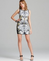 AQUA Dress - Floral Leaf Print Scuba Body-Con at Bloomingdales