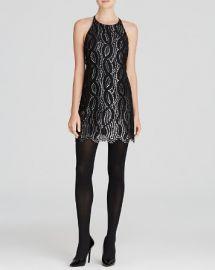 AQUA Dress - Metallic Scallop Lace Ponte Fit and Flare at Bloomingdales