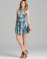 AQUA Dress - Paisley Print Scuba Zip Front Racerback at Bloomingdales