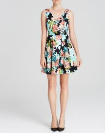 AQUA Dress - Sleeveless V-Neck Floral Quilted Skater at Bloomingdales