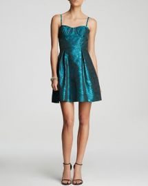 AQUA Dress - Spaghetti Strap Printed Jacquard Fit and Flare at Bloomingdales