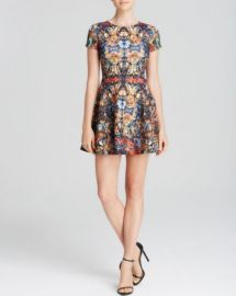 AQUA Dress - Sunrise Kaleidoscope Scuba Cap Sleeve at Bloomingdales