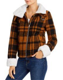 AQUA Faux-Fur Trim Plaid Coat - 100  Exclusive  Women - Bloomingdale s at Bloomingdales