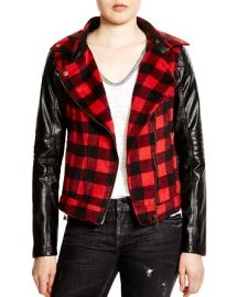 AQUA Faux Leather-Sleeved Plaid Jacket at Bloomingdales
