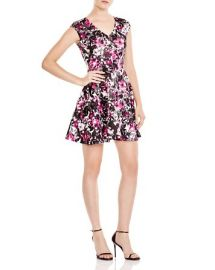AQUA Floral V Neck Scuba Dress at Bloomingdales