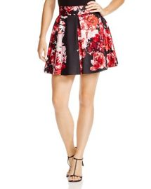 AQUA Floral-print Neoprene Skirt at Bloomingdales