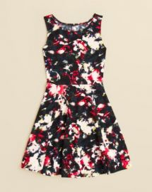 AQUA Girlsand039 Fit andamp Flare Printed Ponte Dress - Sizes S-XL at Bloomingdales
