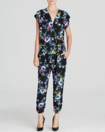 AQUA Jumpsuit - Night Floral Cap Sleeve Crossover Neck at Bloomingdales