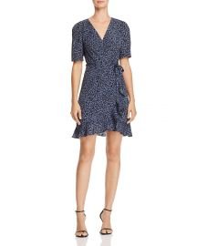 AQUA LEOPARD PRINT WRAP DRESS at Bloomingdales