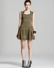 AQUA Metallic Abstract Knit Dress at Bloomingdales