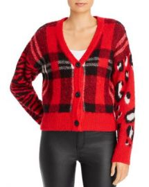 AQUA Plaid  amp  Animal-Pattern Cardigan - 100  Exclusive  Women - Bloomingdale s at Bloomingdales