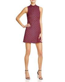 AQUA Printed Mock-Turtleneck Dress at Bloomingdales