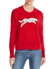 AQUA Snow Leopard-Appliqu amp eacute  Cashmere Sweater - 100  Exclusive  Women - Bloomingdale s at Bloomingdales